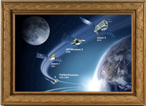 Artist's concept of Jason legacy spacecraft inside an ornate picture frame