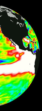 A slice of the Pacific Ocean should the US and South America during and El Nino condition.