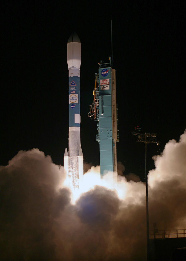Launch photo of the OSTM spacecraft.