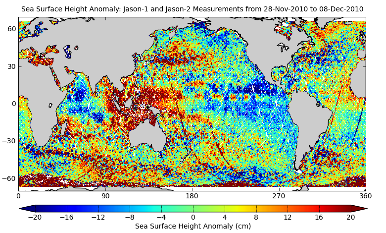 Sea Surface Height Anomaly: Jason-1 and Jason-2 Measurements from 28-Nov-2010 to 08-Dec-2010