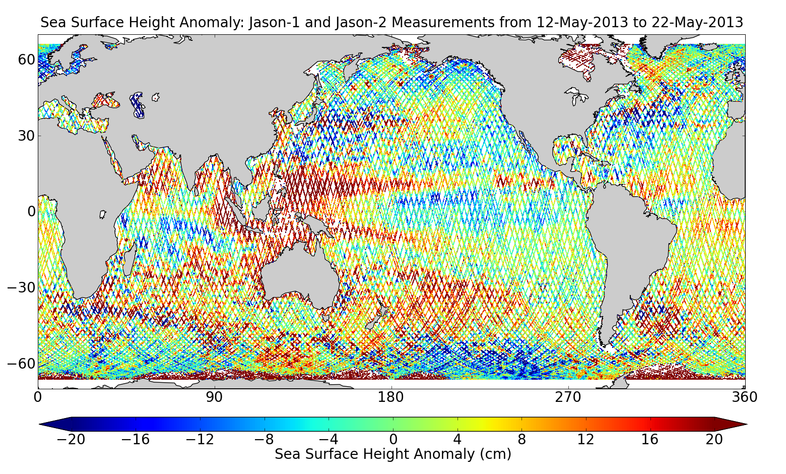 Sea Surface Height Anomaly: Jason-1 and Jason-2 Measurements from 12-May-2013 to 22-May-2013