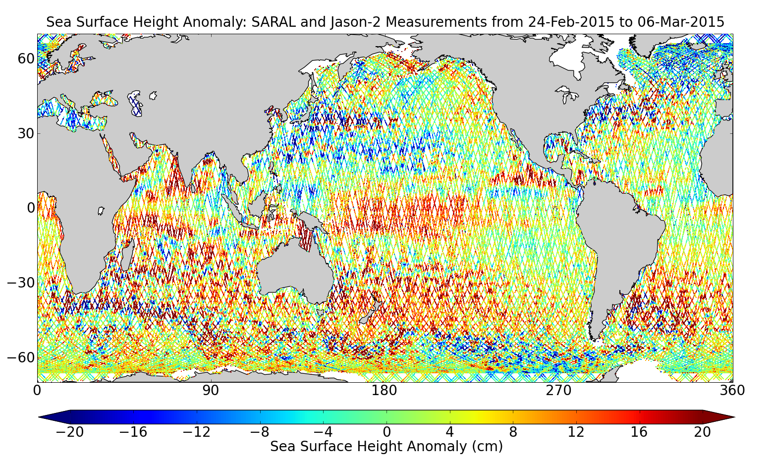 Sea Surface Height Anomaly: SARAL and Jason-2 Measurements from 24-Feb-2015 to 06-Mar-2015