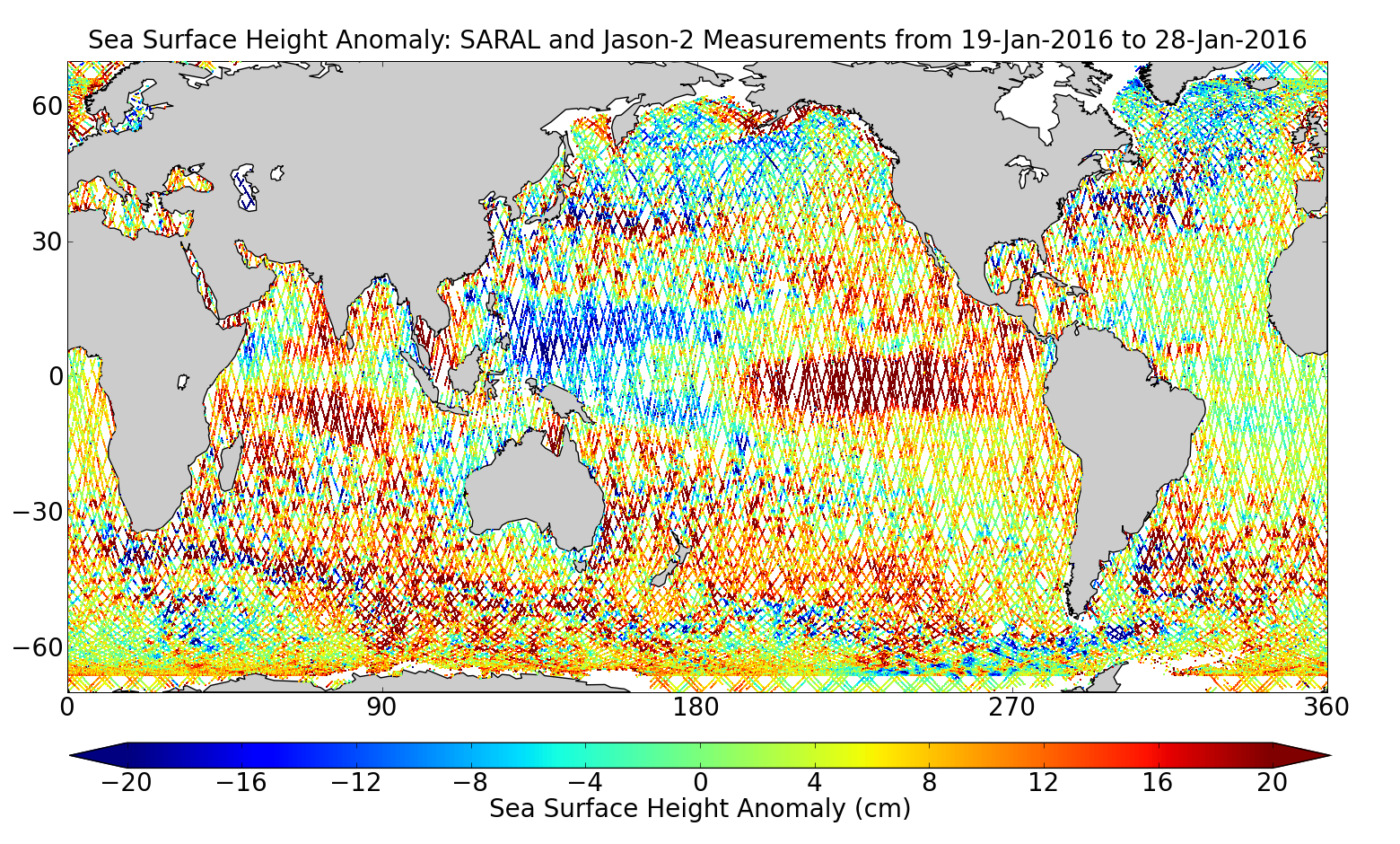 Sea Surface Height Anomaly: SARAL and Jason-2 Measurements from 19-Jan-2016 to 28-Jan-2016