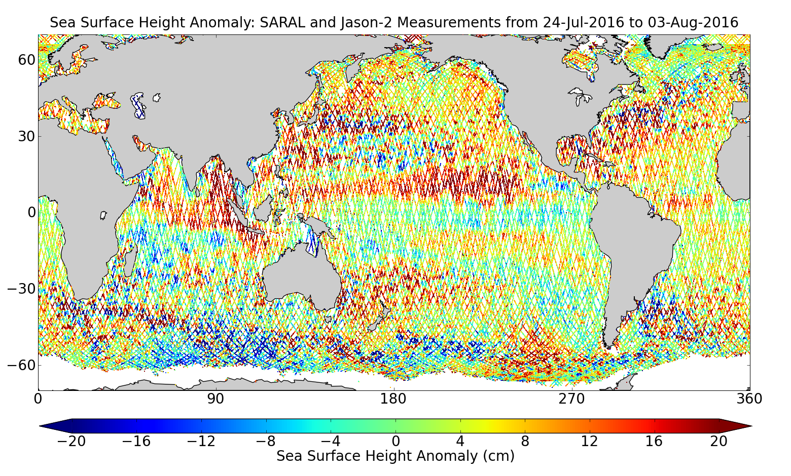 Sea Surface Height Anomaly: SARAL and Jason-2 Measurements from 24-Jul-2016 to 03-Aug-2016