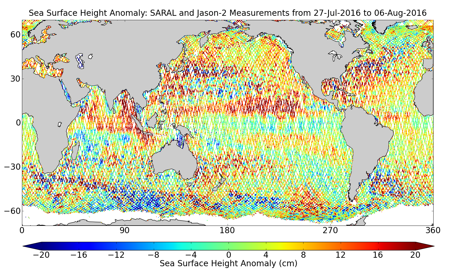 Sea Surface Height Anomaly: SARAL and Jason-2 Measurements from 27-Jul-2016 to 06-Aug-2016