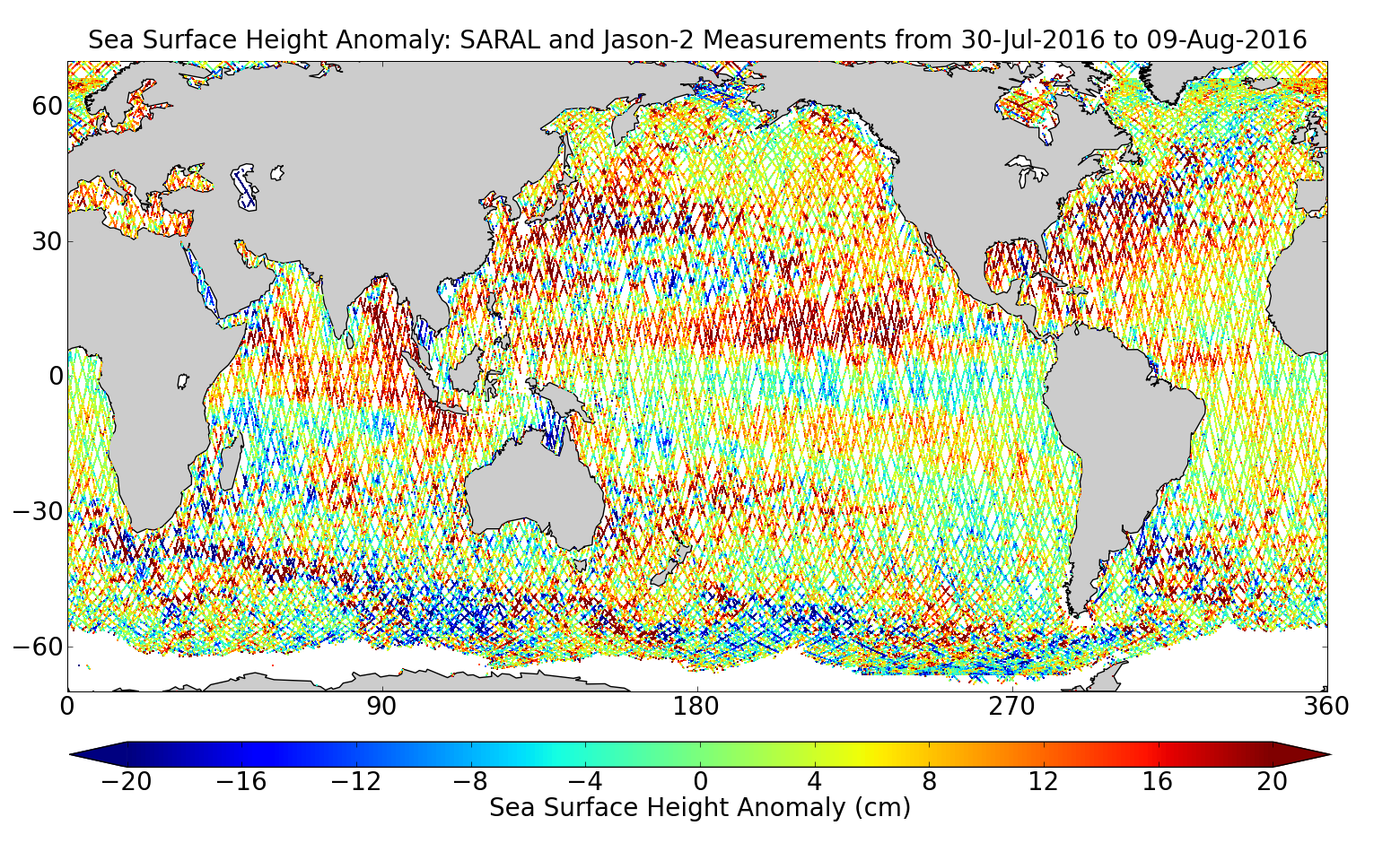 Sea Surface Height Anomaly: SARAL and Jason-2 Measurements from 30-Jul-2016 to 09-Aug-2016