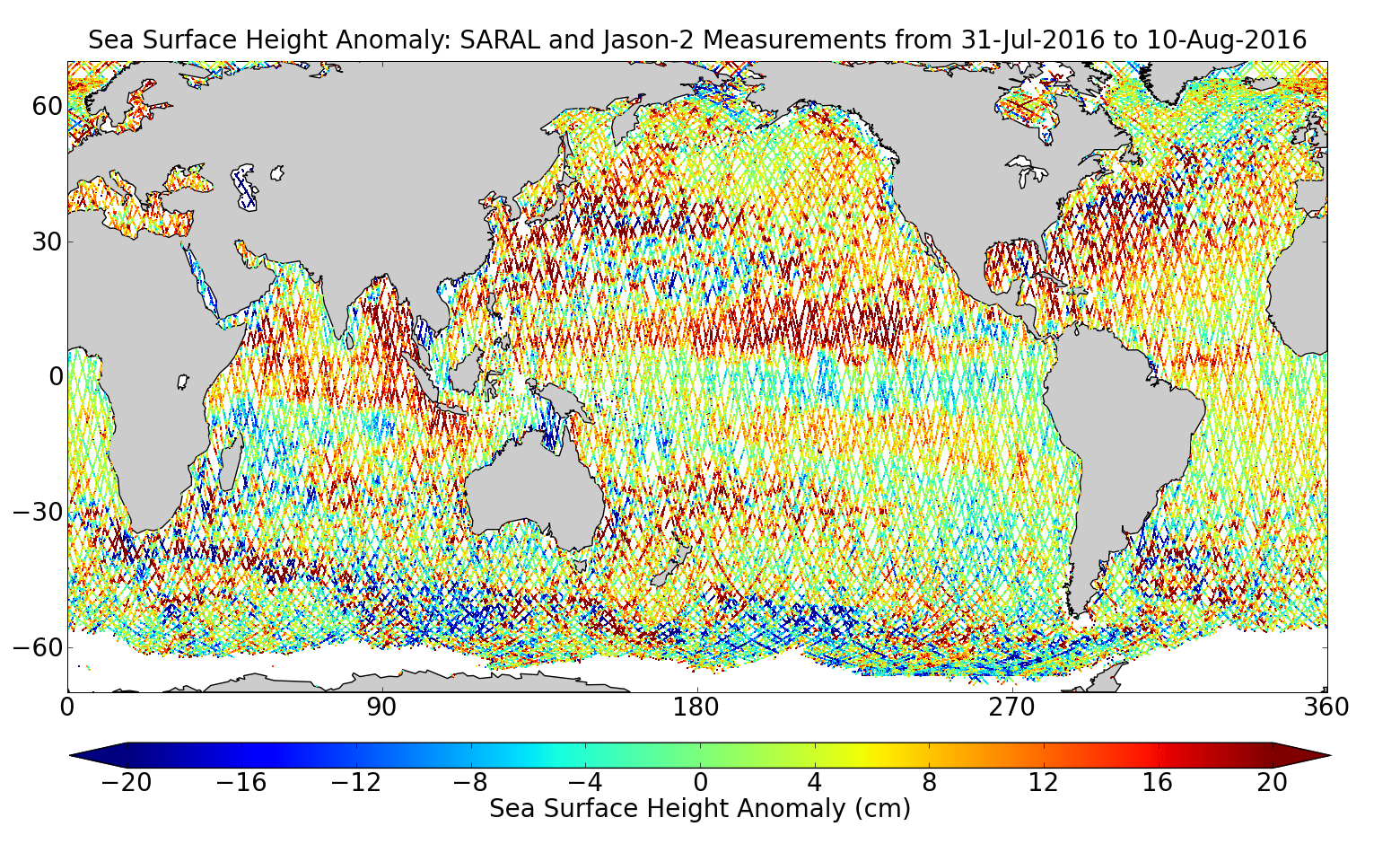 Sea Surface Height Anomaly: SARAL and Jason-2 Measurements from 31-Jul-2016 to 10-Aug-2016