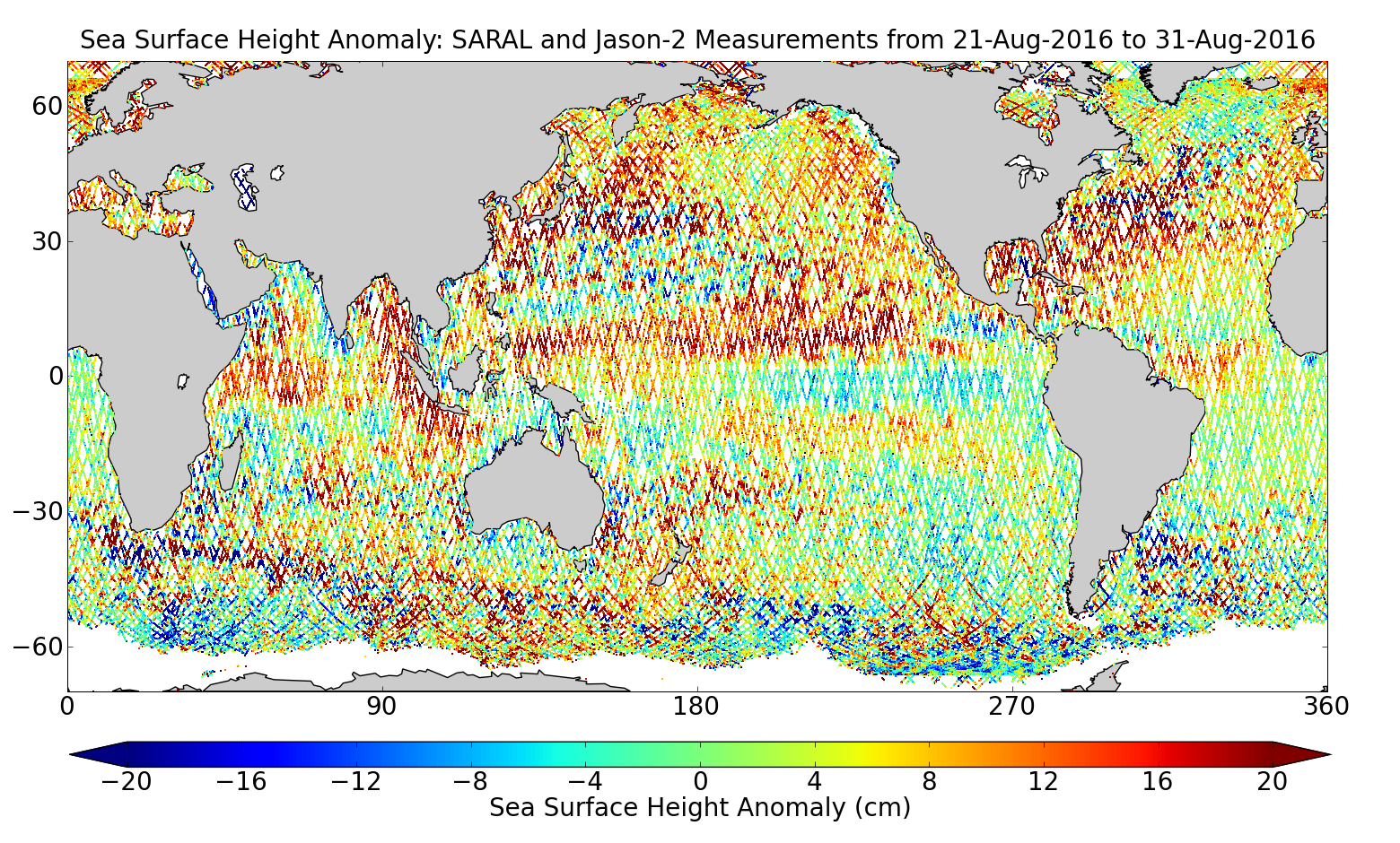 Sea Surface Height Anomaly: SARAL and Jason-2 Measurements from 21-Aug-2016 to 31-Aug-2016
