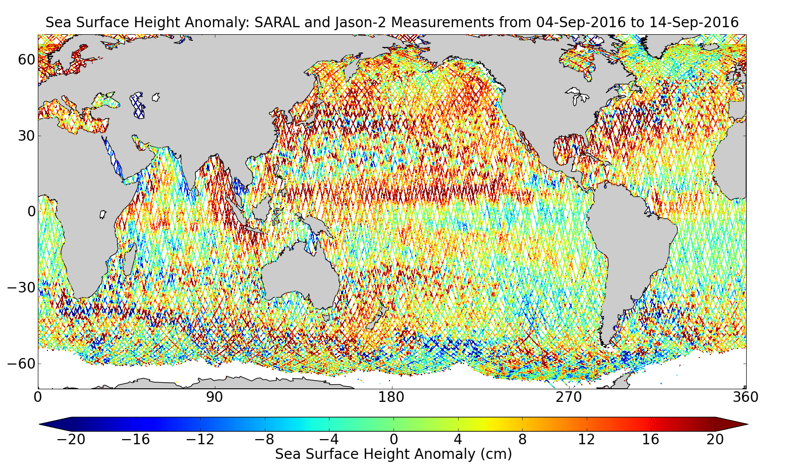 Sea Surface Height Anomaly: SARAL and Jason-2 Measurements from 04-Sep-2016 to 14-Sep-2016