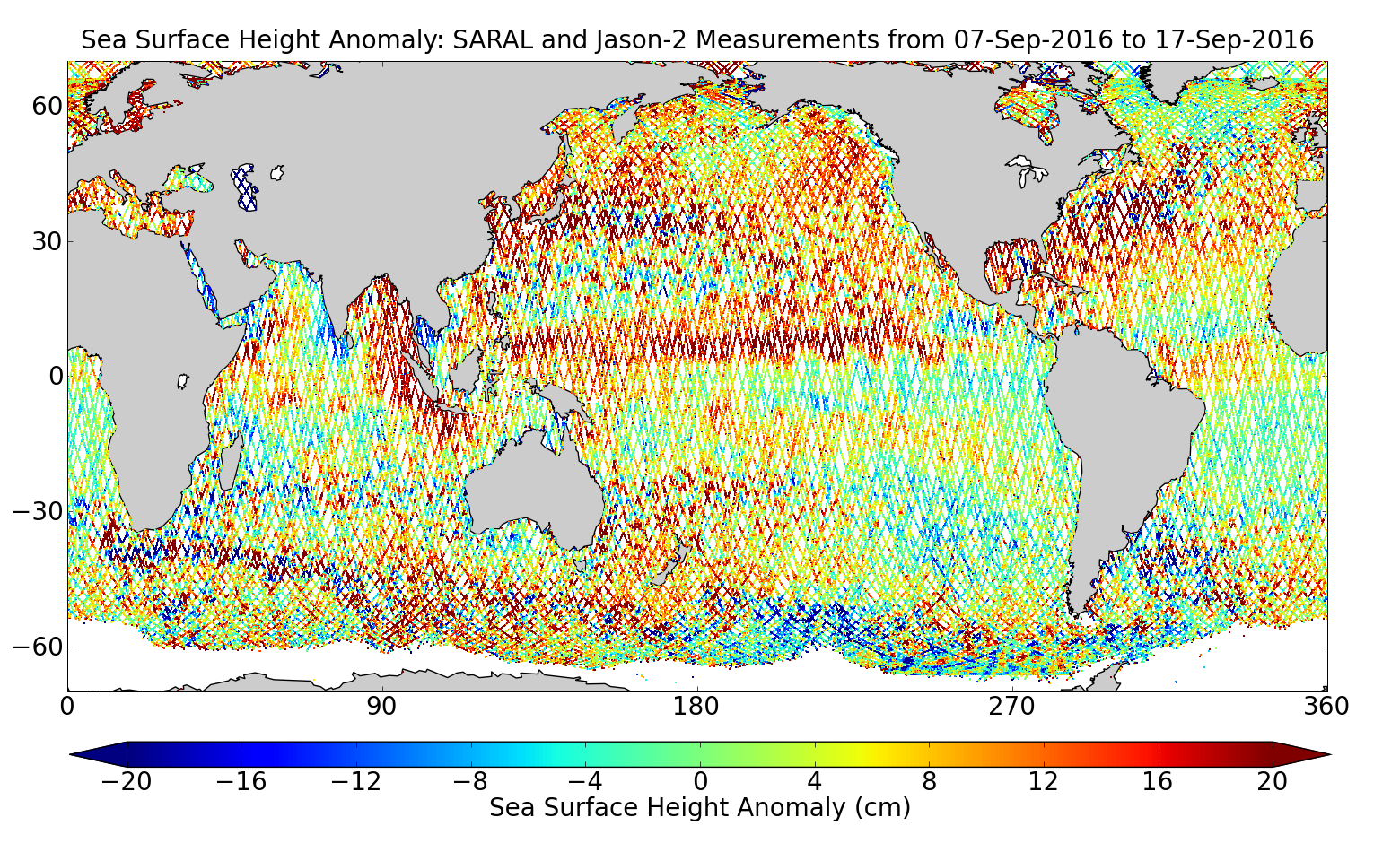 Sea Surface Height Anomaly: SARAL and Jason-2 Measurements from 07-Sep-2016 to 17-Sep-2016