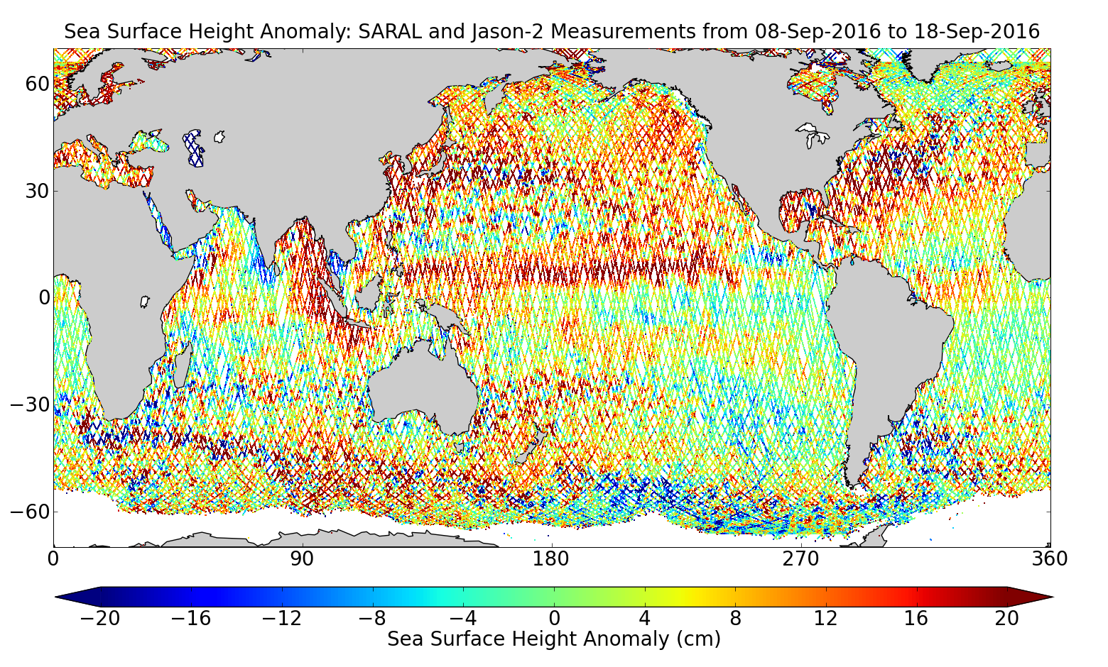 Sea Surface Height Anomaly: SARAL and Jason-2 Measurements from 08-Sep-2016 to 18-Sep-2016