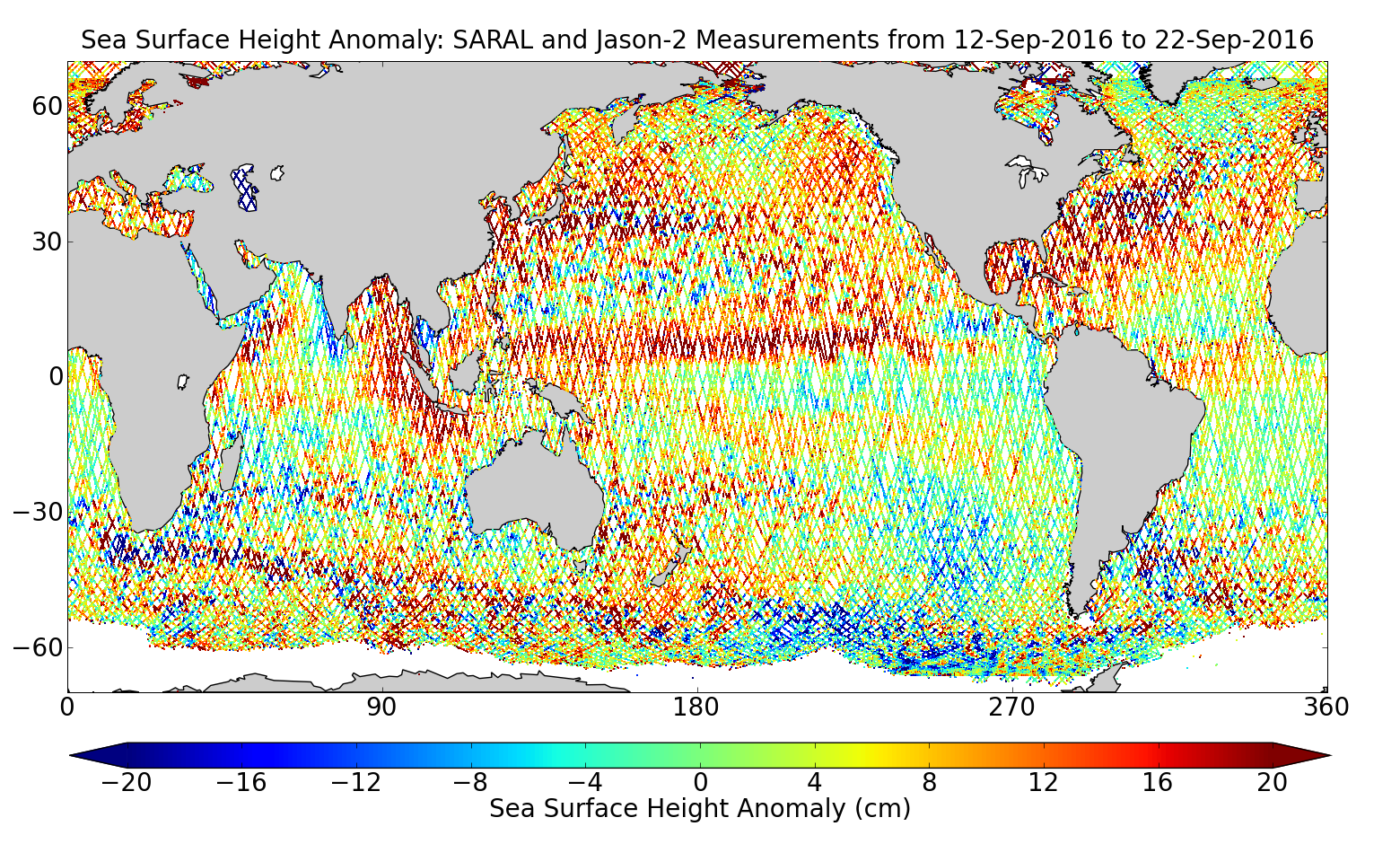 Sea Surface Height Anomaly: SARAL and Jason-2 Measurements from 12-Sep-2016 to 22-Sep-2016