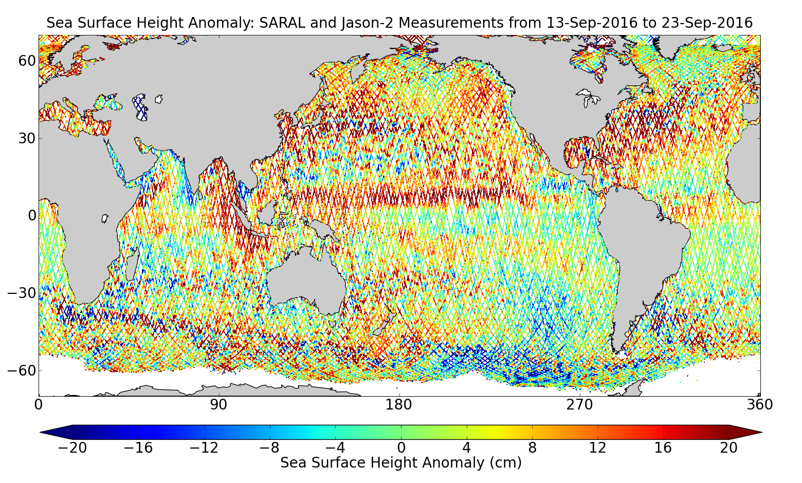 Sea Surface Height Anomaly: SARAL and Jason-2 Measurements from 13-Sep-2016 to 23-Sep-2016