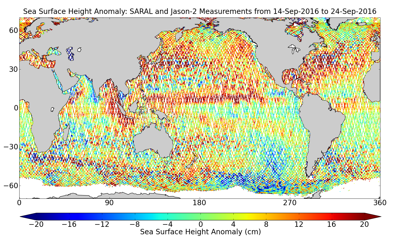 Sea Surface Height Anomaly: SARAL and Jason-2 Measurements from 14-Sep-2016 to 24-Sep-2016