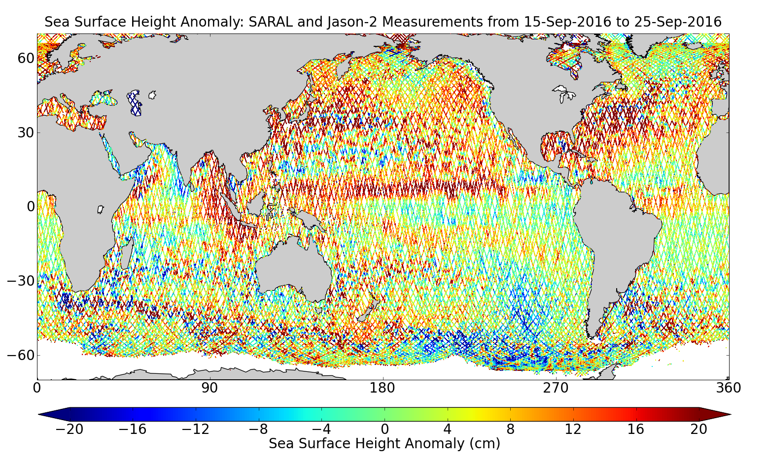 Sea Surface Height Anomaly: SARAL and Jason-2 Measurements from 15-Sep-2016 to 25-Sep-2016