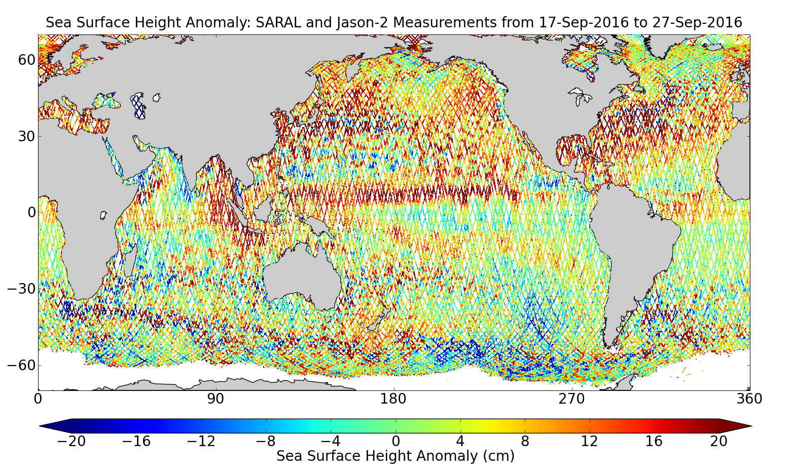 Sea Surface Height Anomaly: SARAL and Jason-2 Measurements from 17-Sep-2016 to 27-Sep-2016