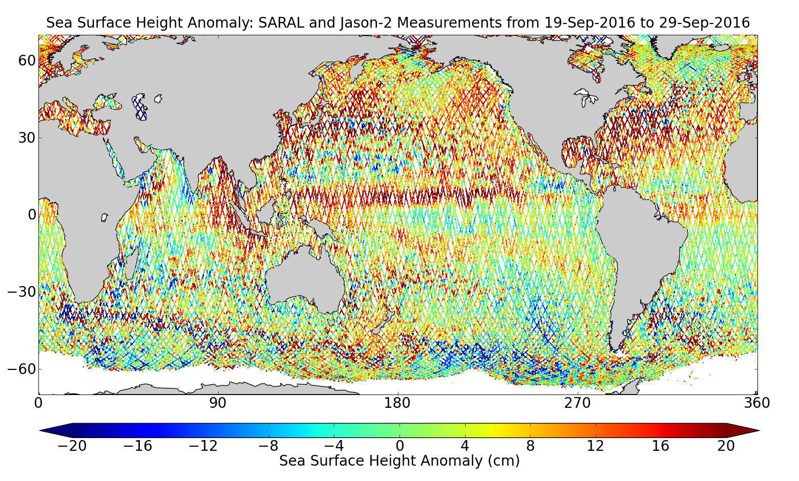 Sea Surface Height Anomaly: SARAL and Jason-2 Measurements from 19-Sep-2016 to 29-Sep-2016