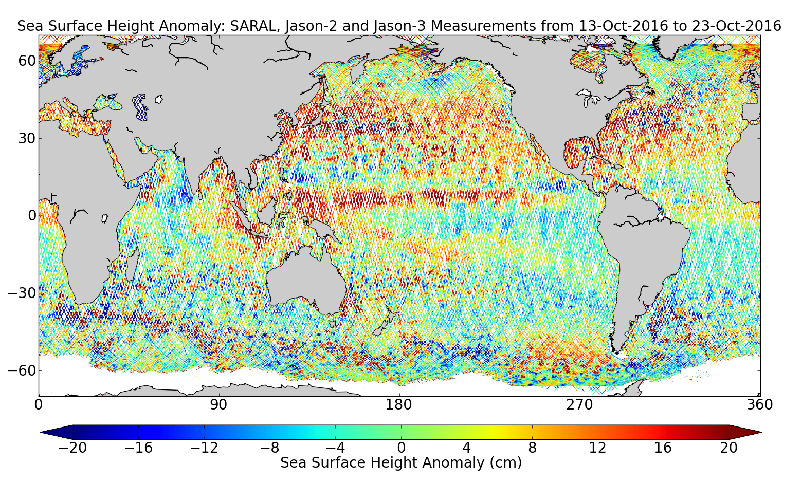Sea Surface Height Anomaly: SARAL, Jason-2 and Jason-3 Measurements from 13-Oct-2016 to 23-Oct-2016