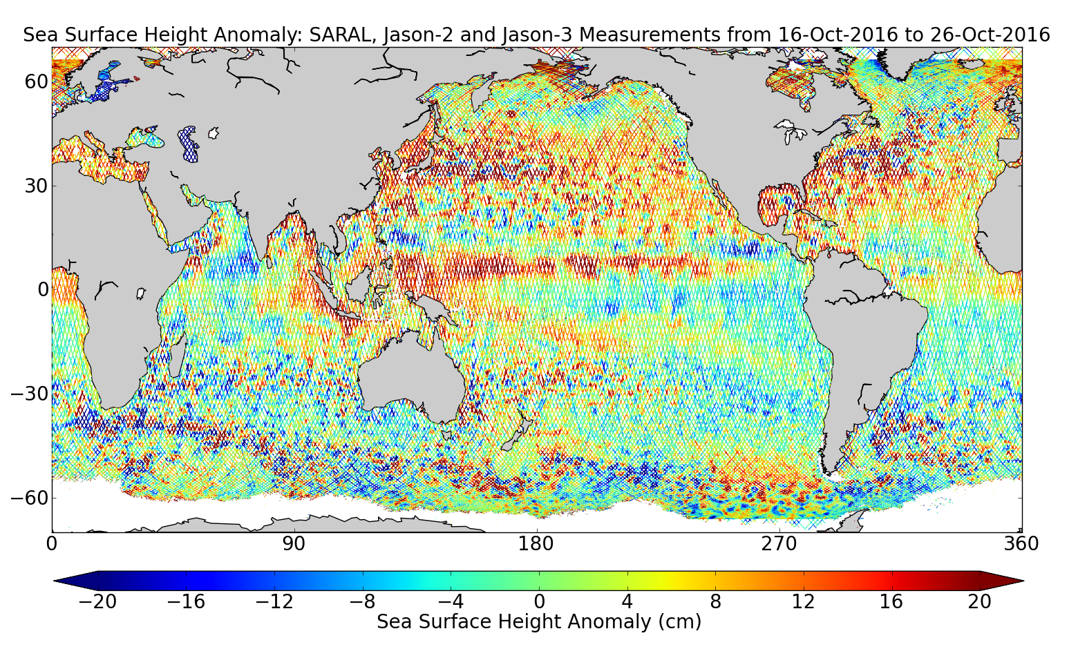 Sea Surface Height Anomaly: SARAL, Jason-2 and Jason-3 Measurements from 16-Oct-2016 to 26-Oct-2016