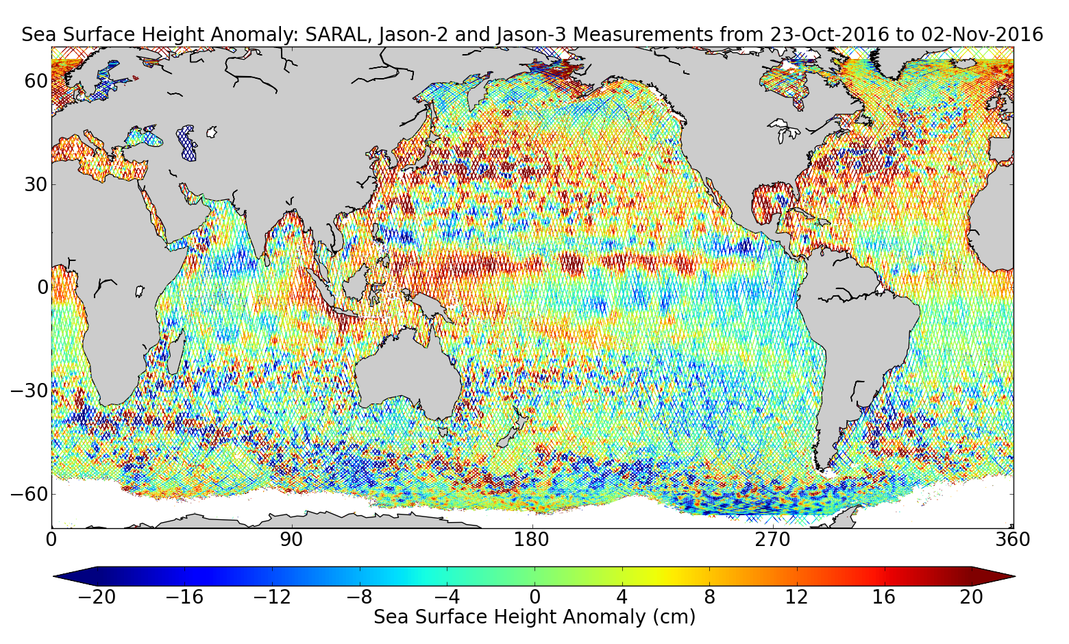 Sea Surface Height Anomaly: SARAL, Jason-2 and Jason-3 Measurements from 23-Oct-2016 to 02-Nov-2016