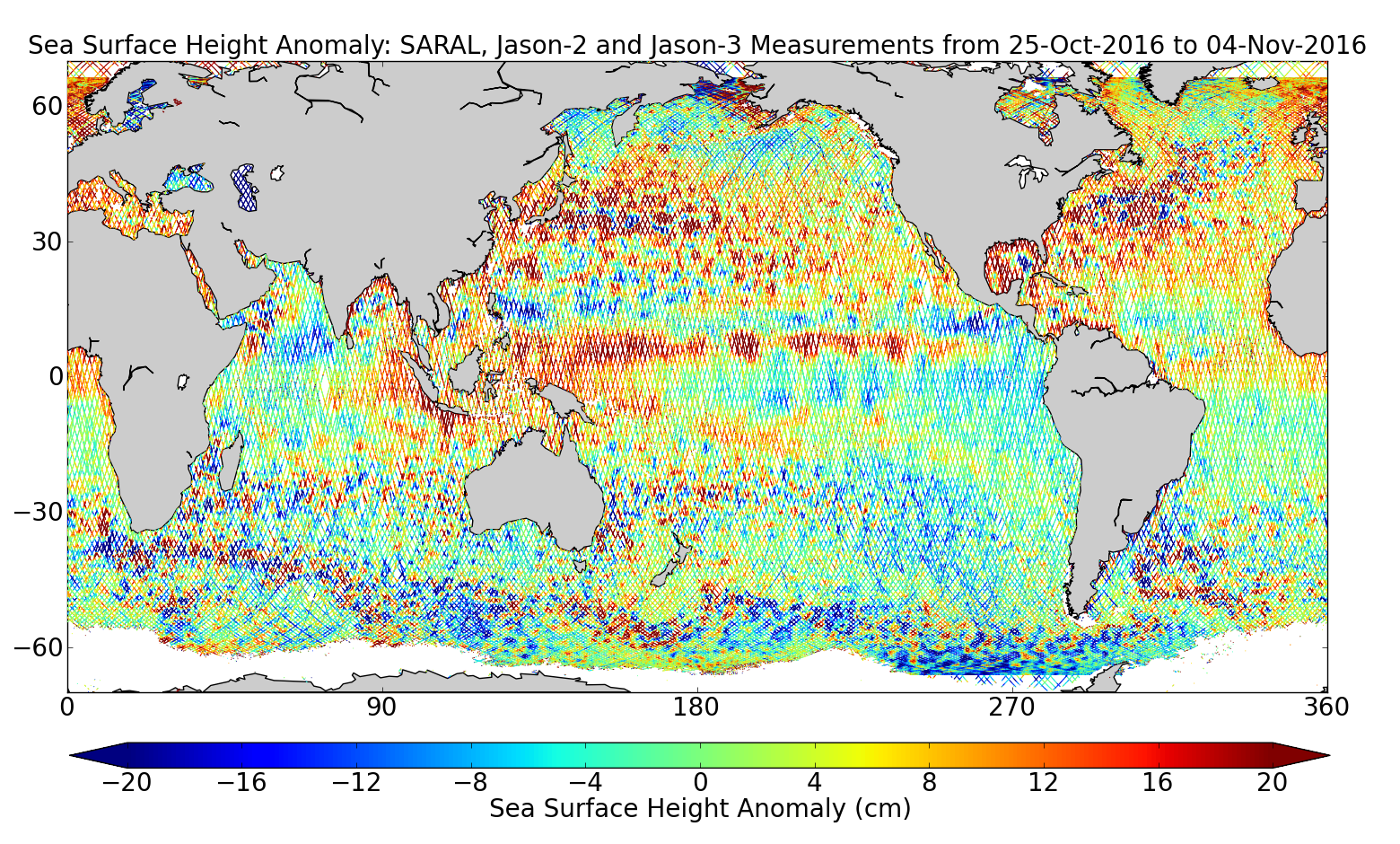 Sea Surface Height Anomaly: SARAL, Jason-2 and Jason-3 Measurements from 25-Oct-2016 to 04-Nov-2016