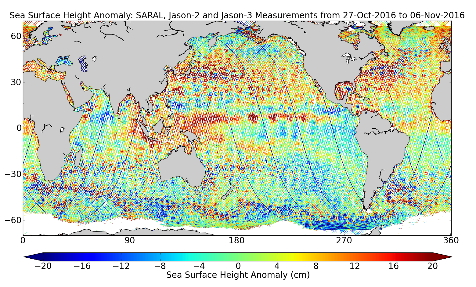 Sea Surface Height Anomaly: SARAL, Jason-2 and Jason-3 Measurements from 27-Oct-2016 to 06-Nov-2016