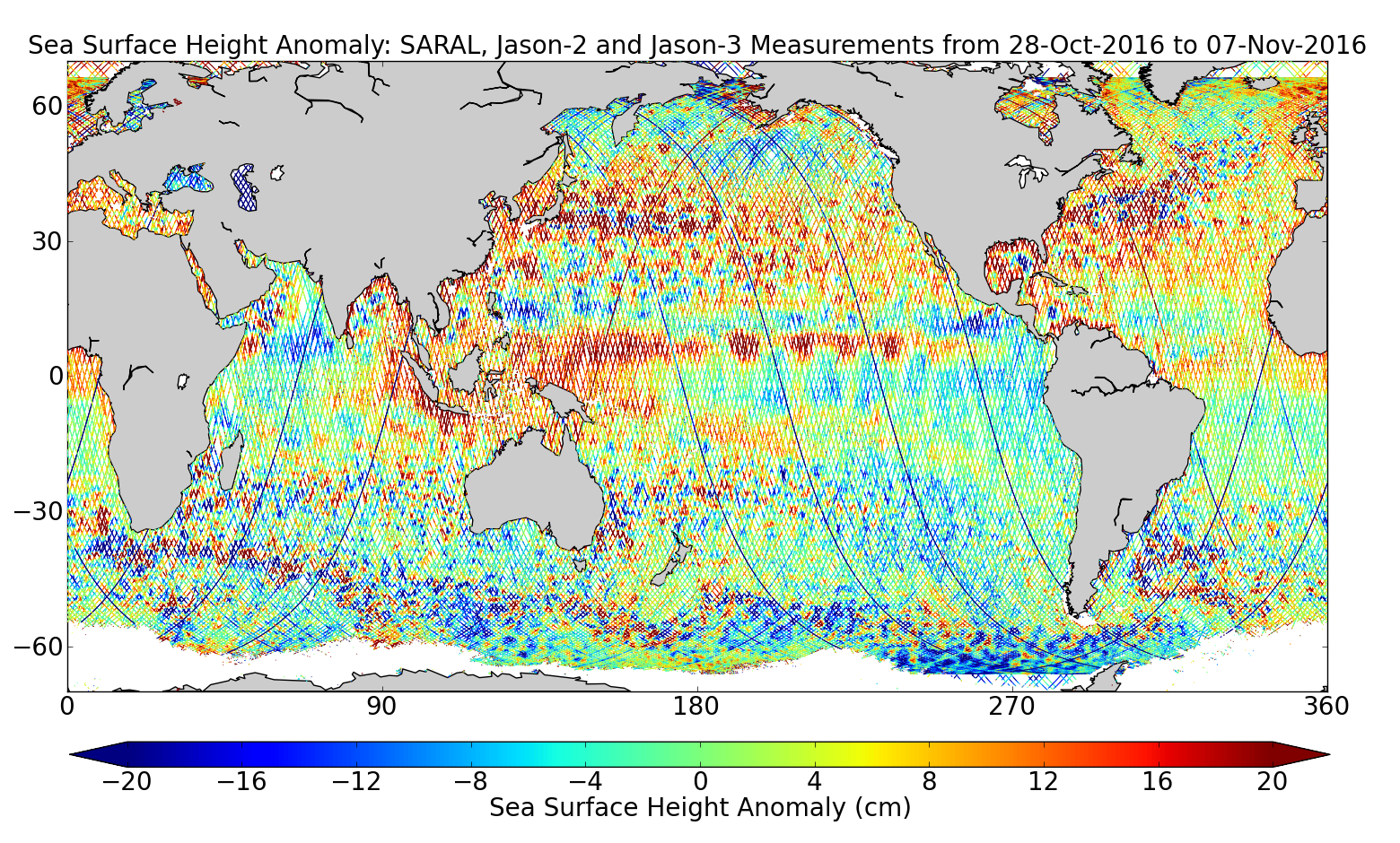 Sea Surface Height Anomaly: SARAL, Jason-2 and Jason-3 Measurements from 28-Oct-2016 to 07-Nov-2016