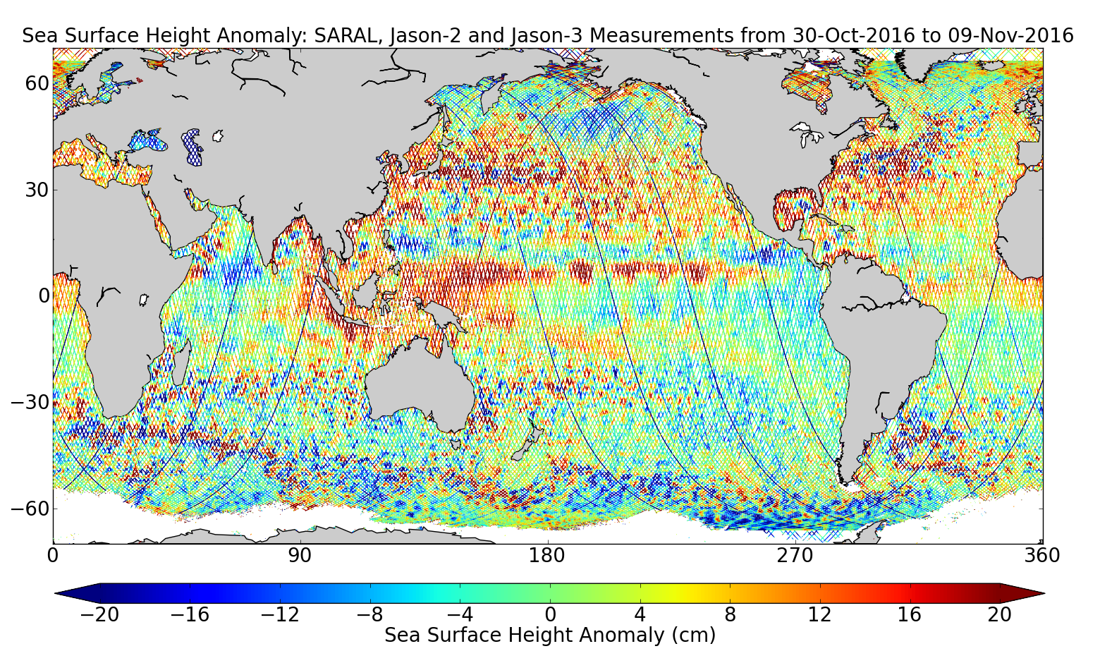 Sea Surface Height Anomaly: SARAL, Jason-2 and Jason-3 Measurements from 30-Oct-2016 to 09-Nov-2016