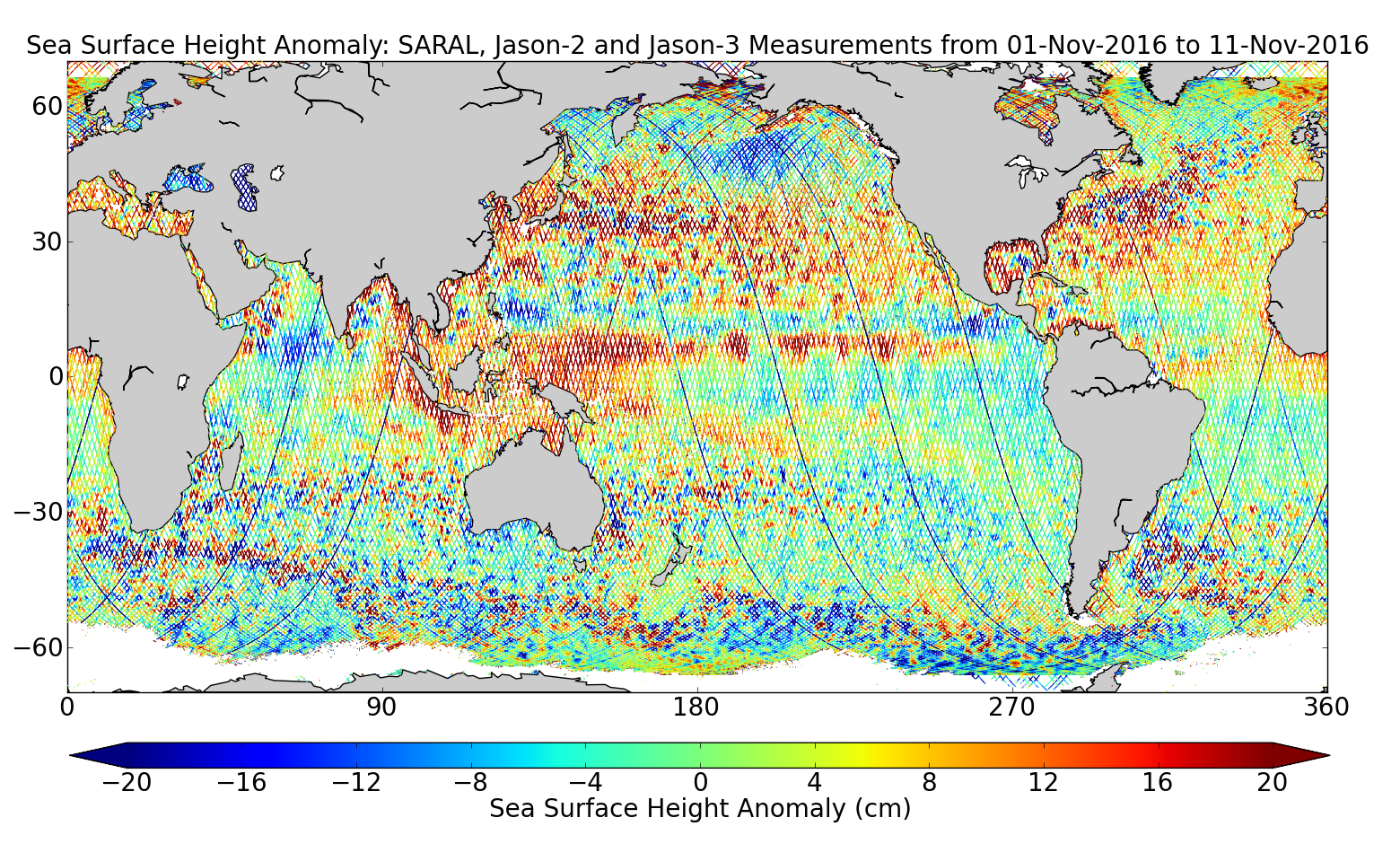 Sea Surface Height Anomaly: SARAL, Jason-2 and Jason-3 Measurements from 01-Nov-2016 to 11-Nov-2016