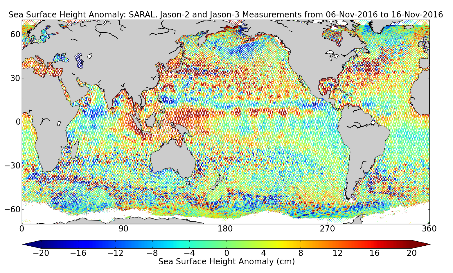 Sea Surface Height Anomaly: SARAL, Jason-2 and Jason-3 Measurements from 06-Nov-2016 to 16-Nov-2016