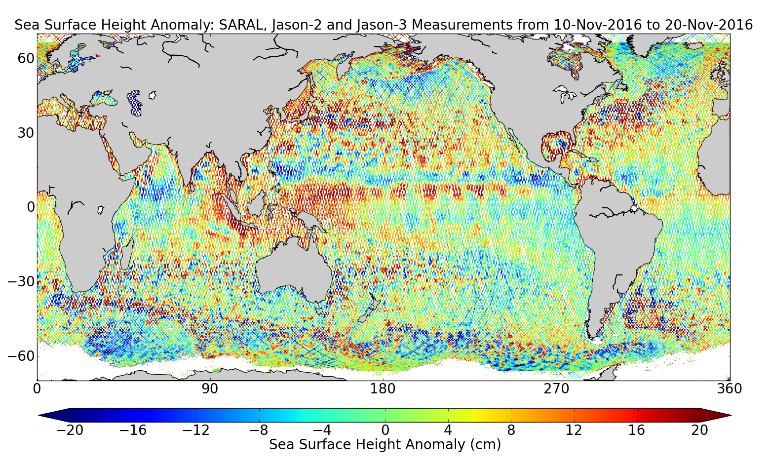 Sea Surface Height Anomaly: SARAL, Jason-2 and Jason-3 Measurements from 10-Nov-2016 to 20-Nov-2016