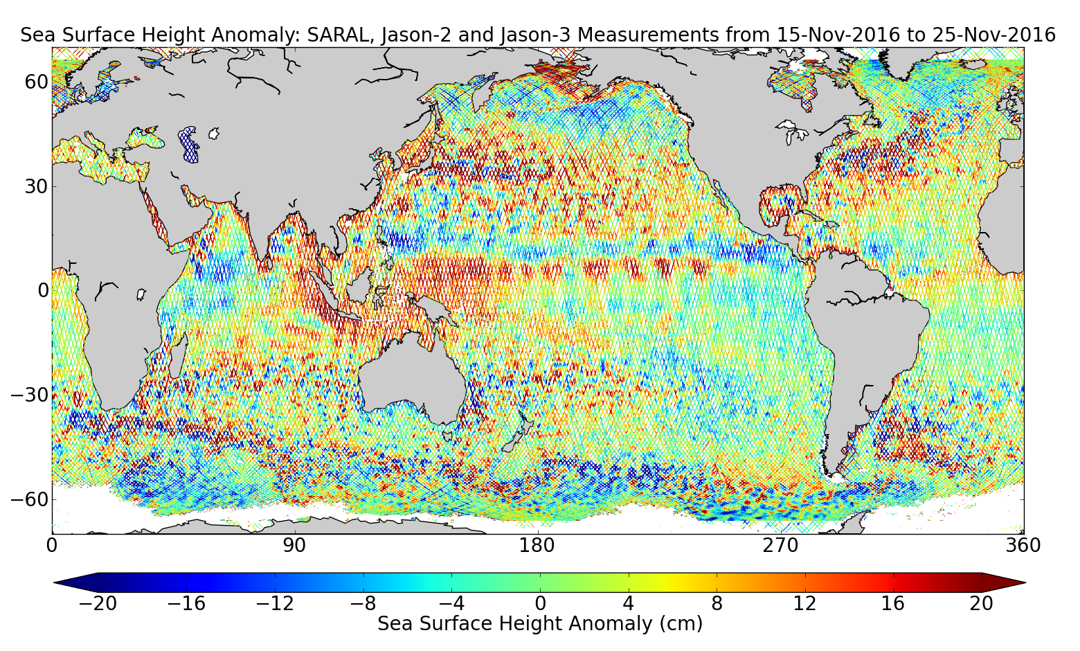 Sea Surface Height Anomaly: SARAL, Jason-2 and Jason-3 Measurements from 15-Nov-2016 to 25-Nov-2016