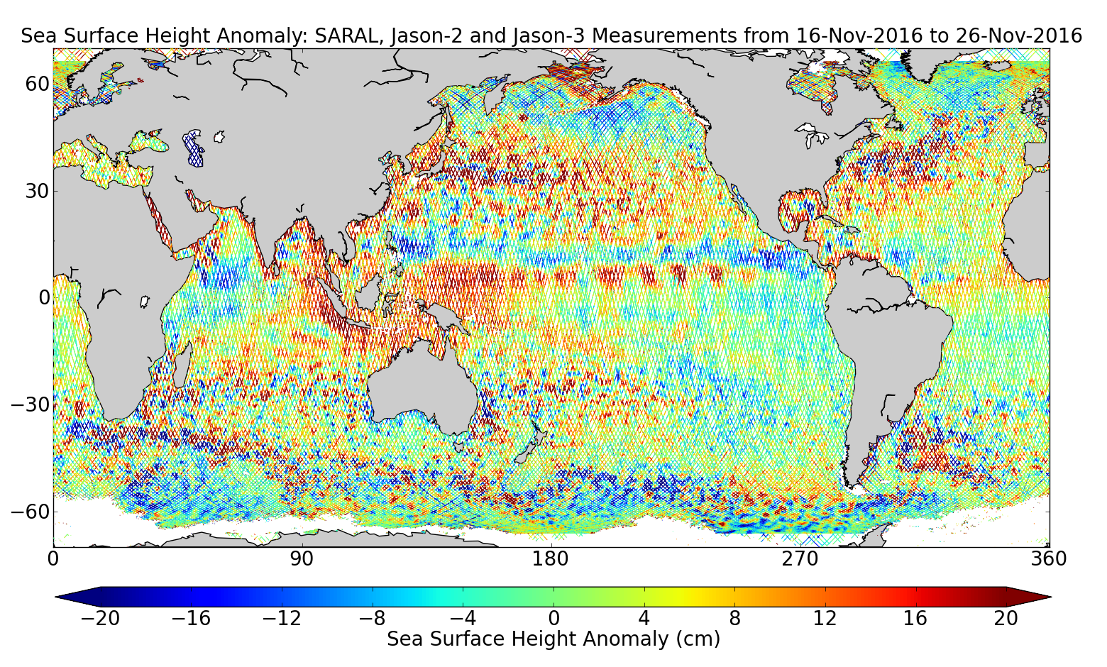 Sea Surface Height Anomaly: SARAL, Jason-2 and Jason-3 Measurements from 16-Nov-2016 to 26-Nov-2016