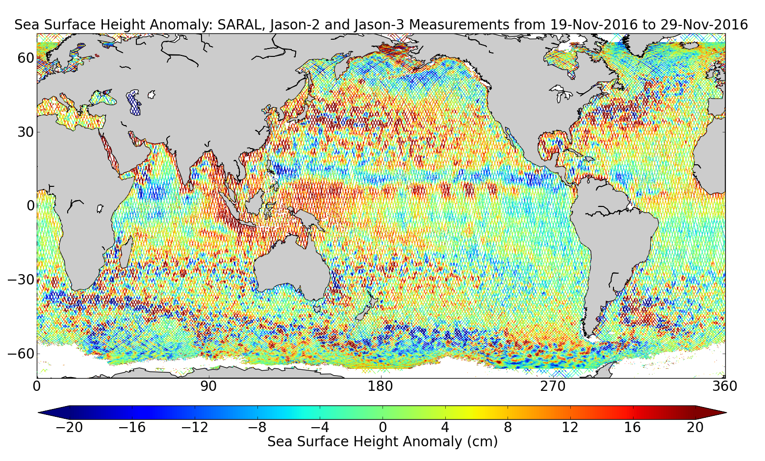 Sea Surface Height Anomaly: SARAL, Jason-2 and Jason-3 Measurements from 19-Nov-2016 to 29-Nov-2016