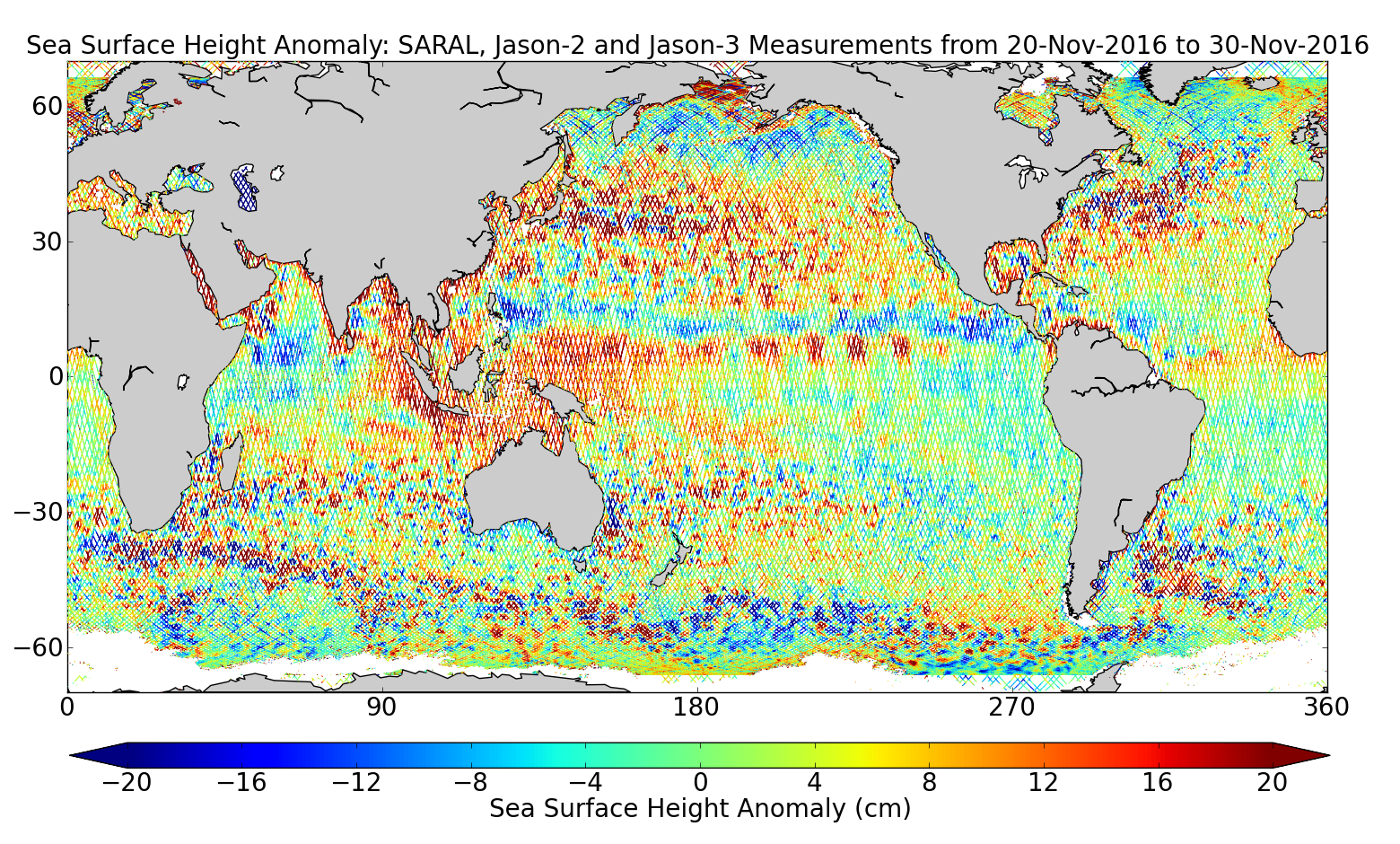 Sea Surface Height Anomaly: SARAL, Jason-2 and Jason-3 Measurements from 20-Nov-2016 to 30-Nov-2016