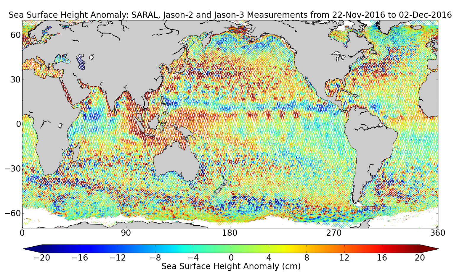 Sea Surface Height Anomaly: SARAL, Jason-2 and Jason-3 Measurements from 22-Nov-2016 to 02-Dec-2016