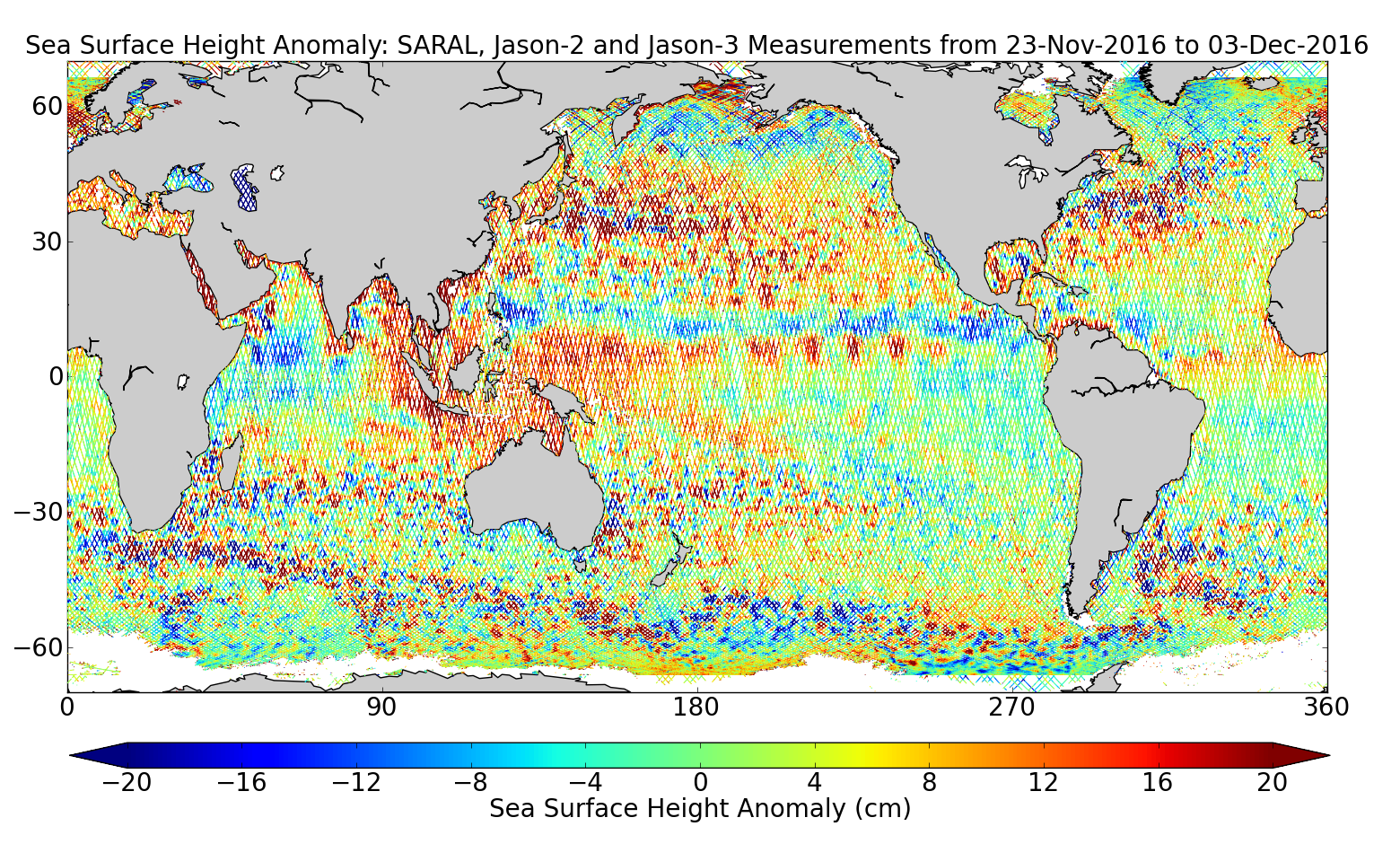 Sea Surface Height Anomaly: SARAL, Jason-2 and Jason-3 Measurements from 23-Nov-2016 to 03-Dec-2016