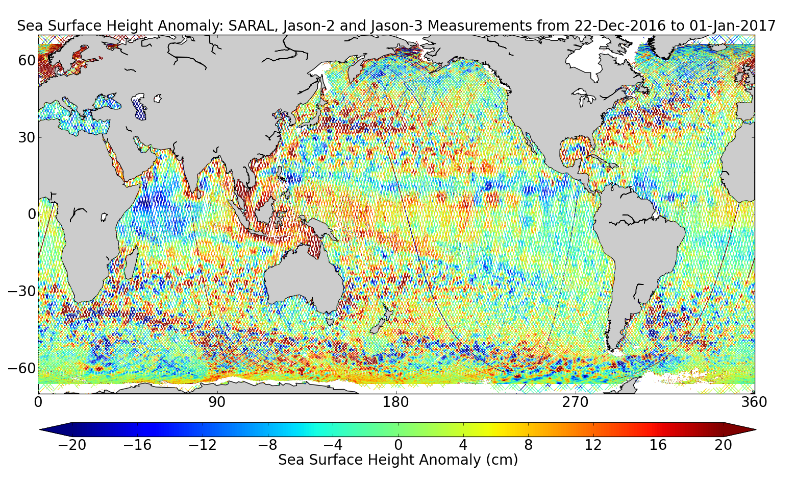 Sea Surface Height Anomaly: SARAL, Jason-2 and Jason-3 Measurements from 22-Dec-2016 to 01-Jan-2017