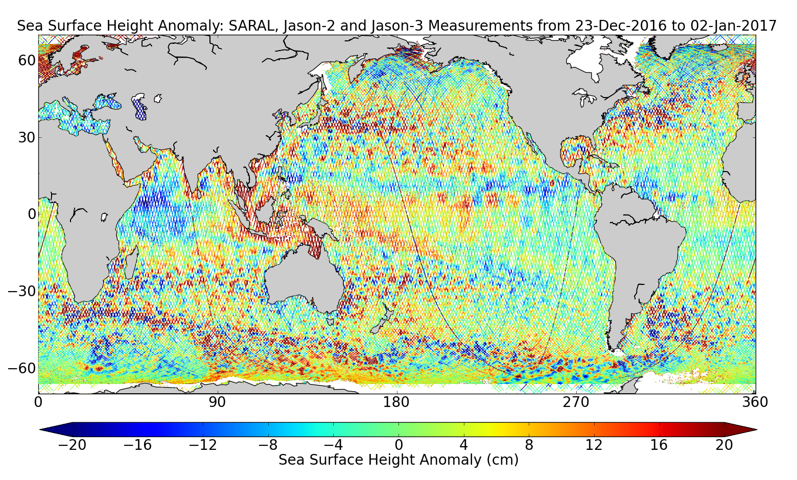 Sea Surface Height Anomaly: SARAL, Jason-2 and Jason-3 Measurements from 23-Dec-2016 to 02-Jan-2017