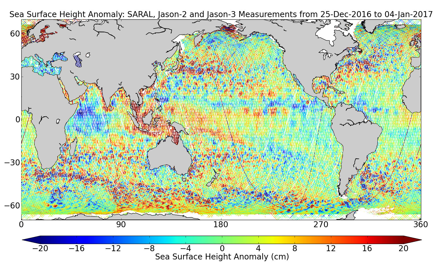 Sea Surface Height Anomaly: SARAL, Jason-2 and Jason-3 Measurements from 25-Dec-2016 to 04-Jan-2017