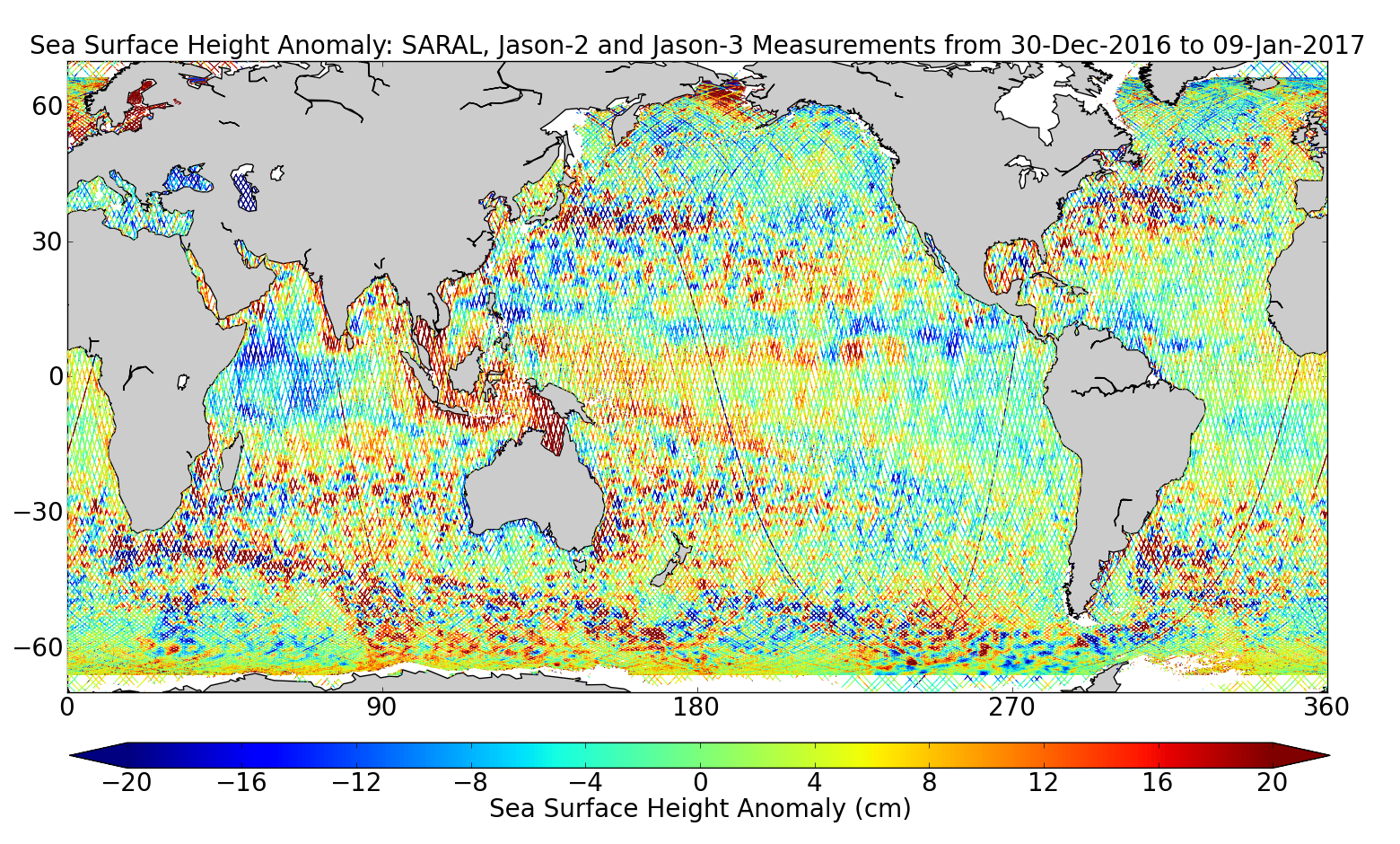 Sea Surface Height Anomaly: SARAL, Jason-2 and Jason-3 Measurements from 30-Dec-2016 to 09-Jan-2017