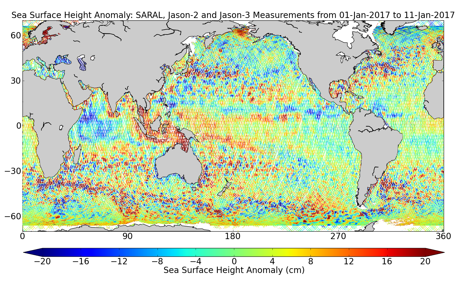Sea Surface Height Anomaly: SARAL, Jason-2 and Jason-3 Measurements from 01-Jan-2017 to 11-Jan-2017