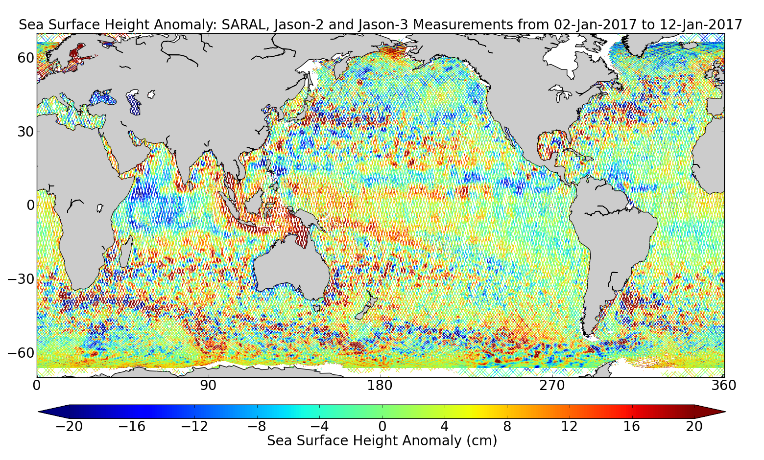 Sea Surface Height Anomaly: SARAL, Jason-2 and Jason-3 Measurements from 02-Jan-2017 to 12-Jan-2017