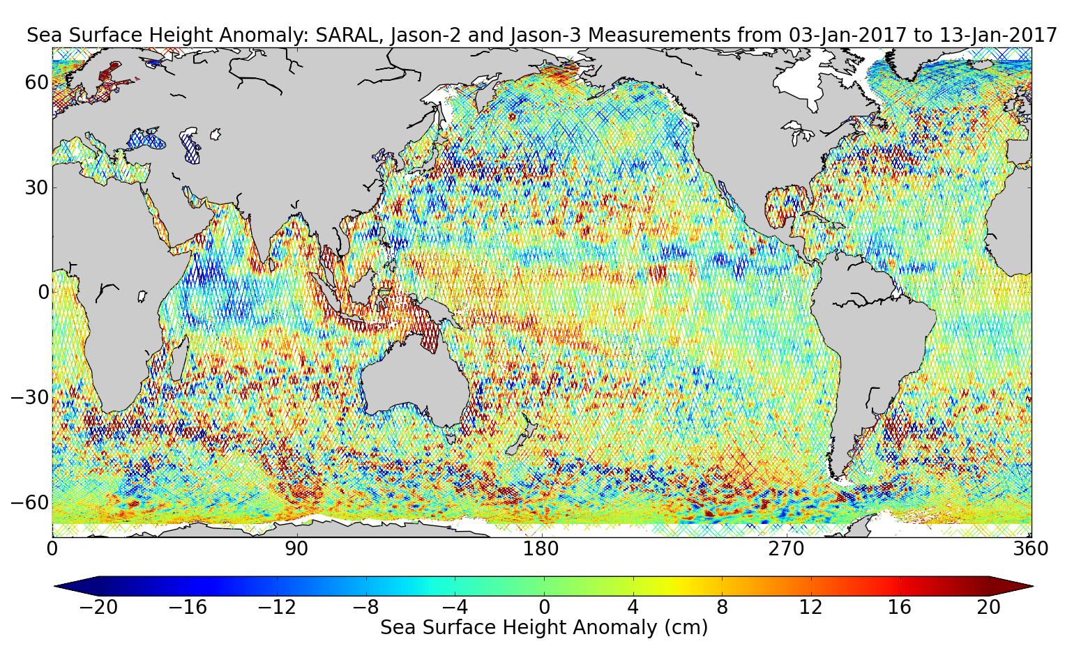 Sea Surface Height Anomaly: SARAL, Jason-2 and Jason-3 Measurements from 03-Jan-2017 to 13-Jan-2017