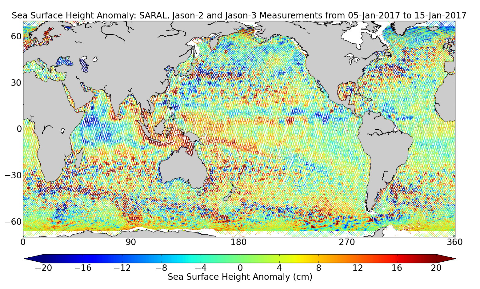 Sea Surface Height Anomaly: SARAL, Jason-2 and Jason-3 Measurements from 05-Jan-2017 to 15-Jan-2017