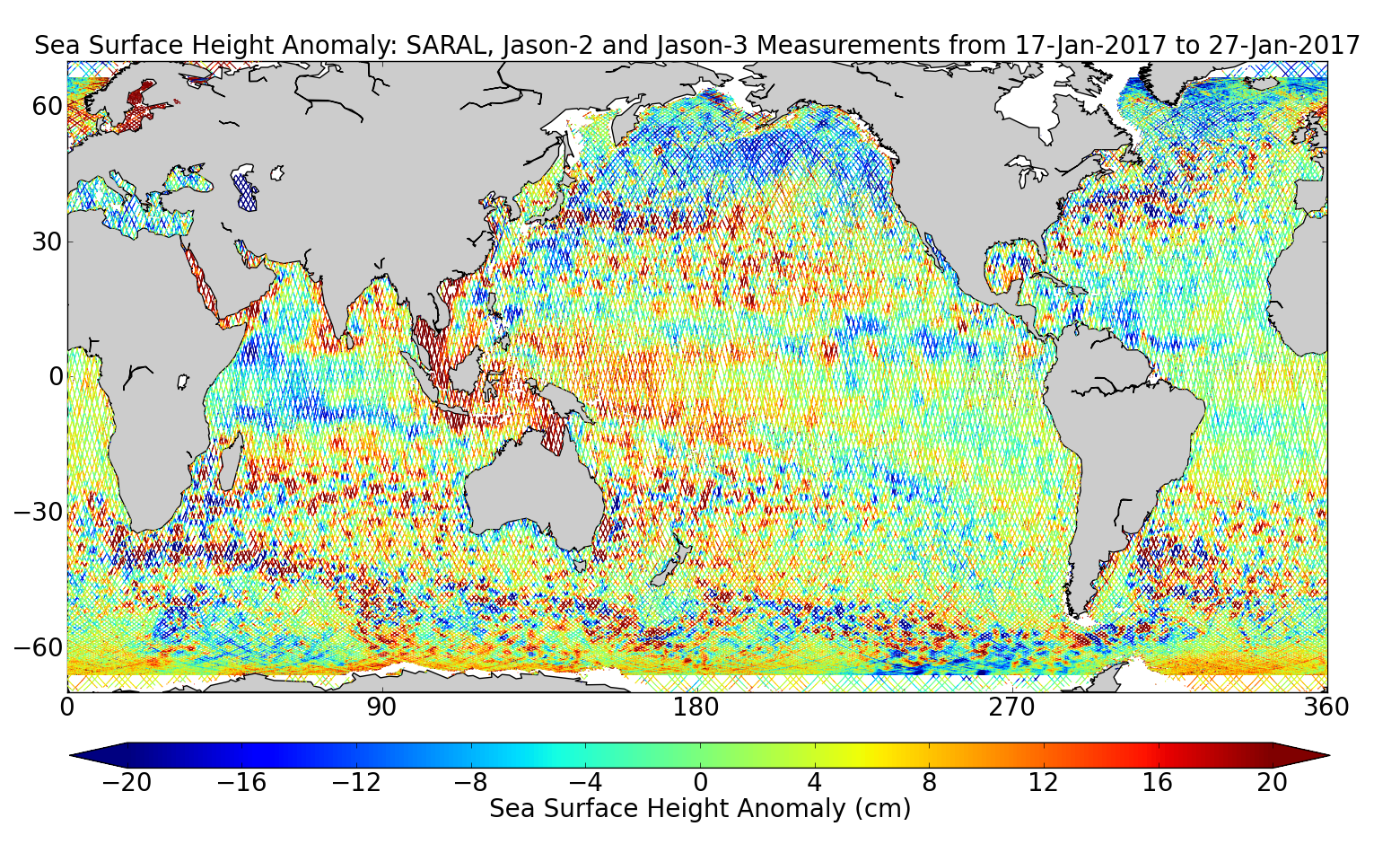 Sea Surface Height Anomaly: SARAL, Jason-2 and Jason-3 Measurements from 17-Jan-2017 to 27-Jan-2017