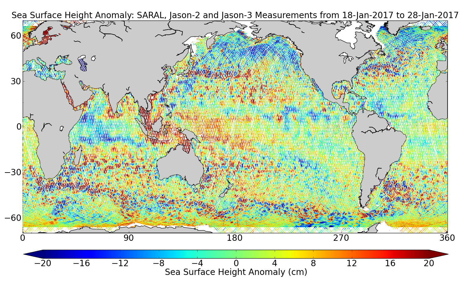 Sea Surface Height Anomaly: SARAL, Jason-2 and Jason-3 Measurements from 18-Jan-2017 to 28-Jan-2017