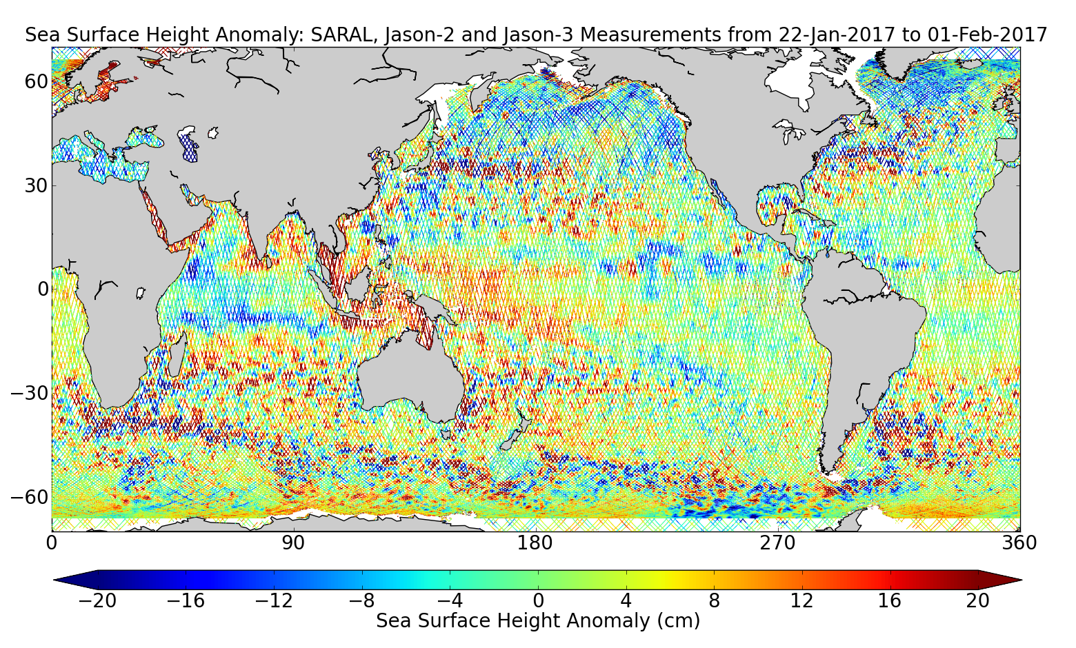 Sea Surface Height Anomaly: SARAL, Jason-2 and Jason-3 Measurements from 22-Jan-2017 to 01-Feb-2017