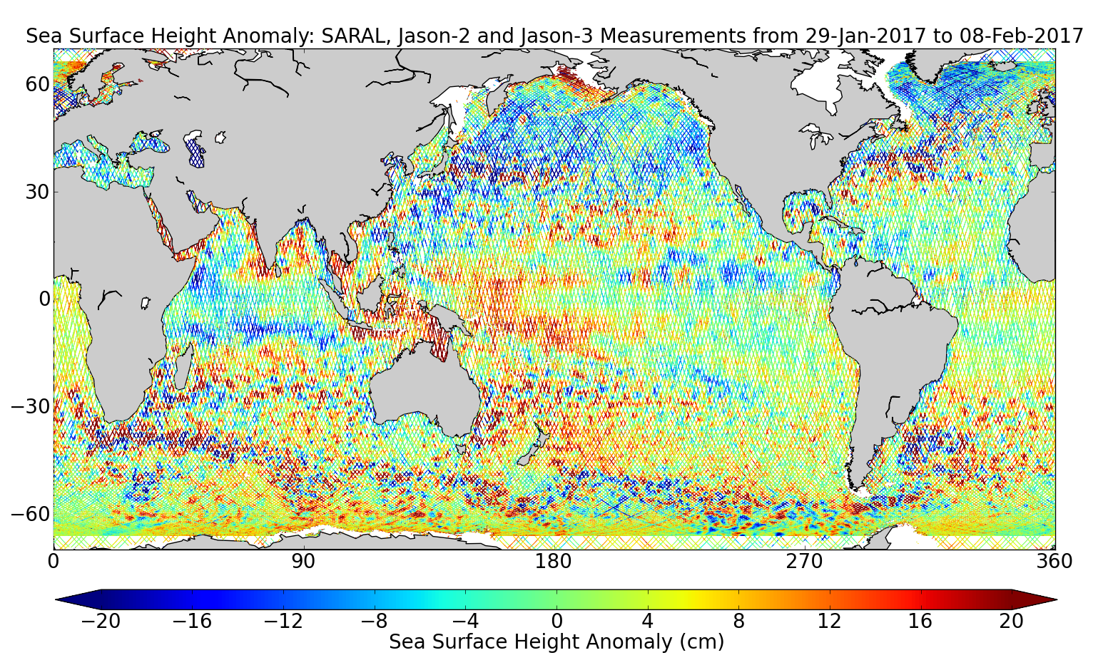 Sea Surface Height Anomaly: SARAL, Jason-2 and Jason-3 Measurements from 29-Jan-2017 to 08-Feb-2017