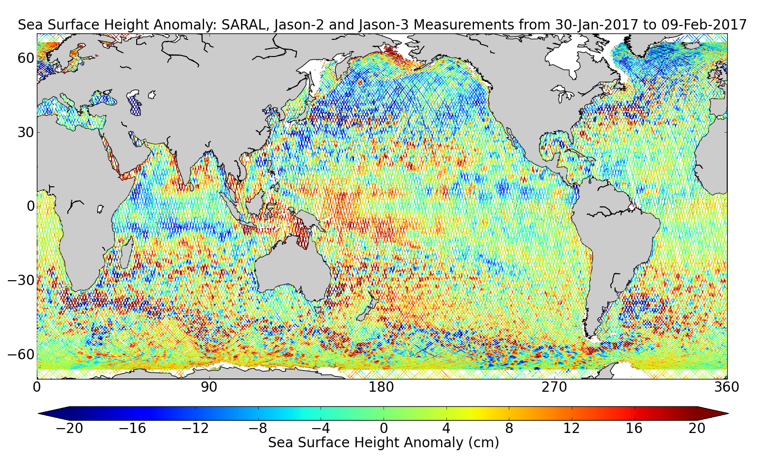 Sea Surface Height Anomaly: SARAL, Jason-2 and Jason-3 Measurements from 30-Jan-2017 to 09-Feb-2017